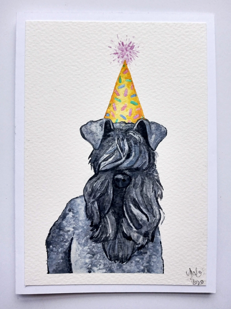 Kerrier Blue Terrier wearing Party Hat - Cute Funny Handmade Watercolour Painting Birthday Card