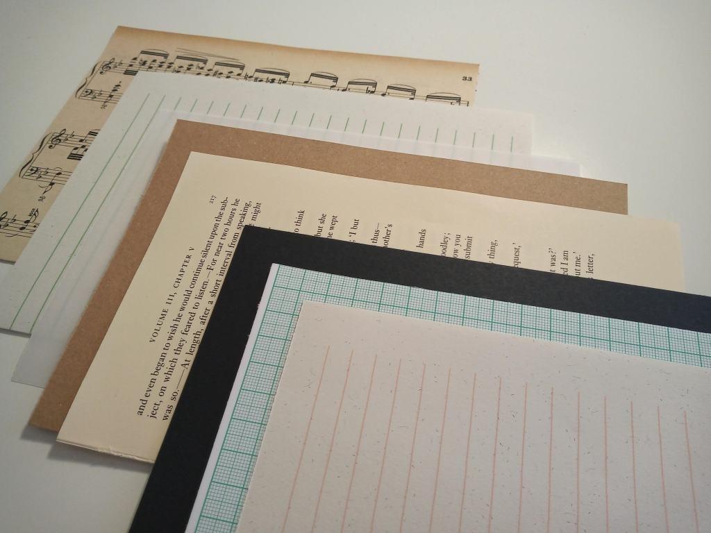 Various papers included in ephemera / vintage inspired handmade sketchbook.