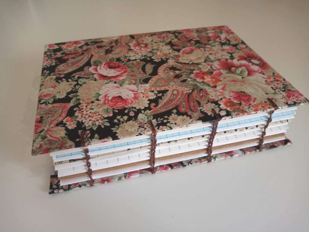 sketchbook handmade with coptic bookbinding method, and vintage style decoupage paper cover.